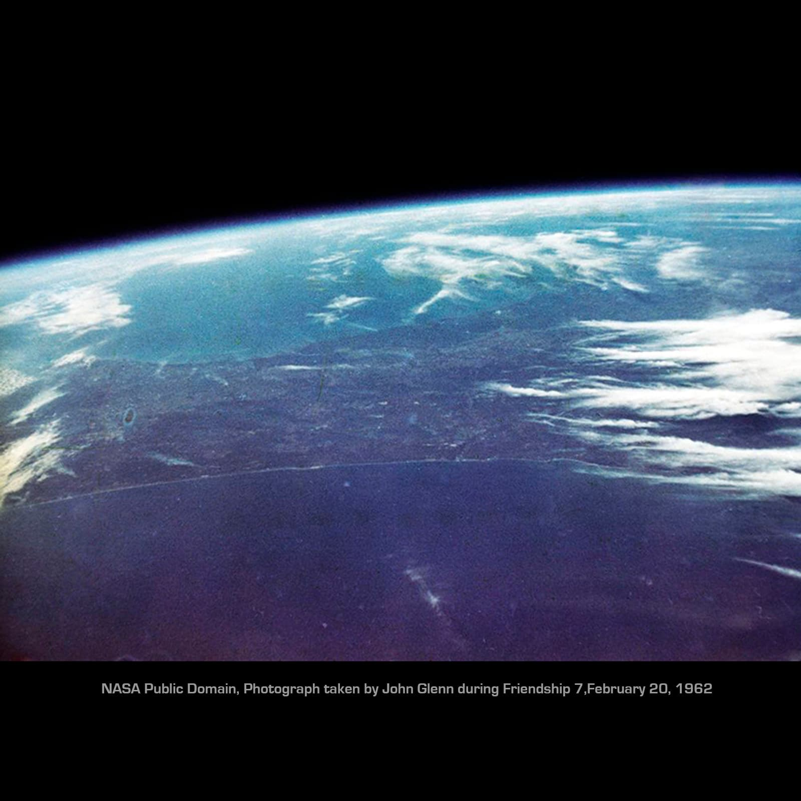 Astronaut John Glenn took a Minolta Hi-Matic 35mm up into space on Friendship 7 in 1962. He became the first human to take color still photographs of the Earth from space. NASA public domain.
