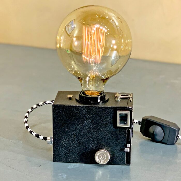 Another side view of Rosie's Workshop original vintage camera accent light - the Kodak Brownie Six-20, the original point & shoot camera. All parts are UL component listed (c UR us) for United States and Canada.