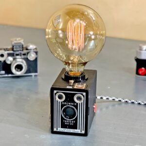 Front view of Rosie's Workshop original vintage camera accent light - the Kodak Brownie Six-20, the original point & shoot camera. All parts are UL component listed (c UR us) for United States and Canada.