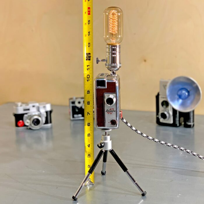 Showing measurements using measuring tape of Rosie's Workshop original vintage camera accent light - the Revere 40, the Elvis Camera. All parts are UL component listed (c UR us) for United States and Canada.