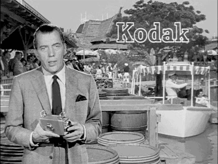 Kodak Brownie 8mm Movie Camera being used at Disneyland with Ed Sullivan.