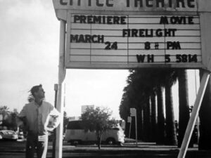 Steven Spielberg's Firelite Movie Premier shown on theatre sign.