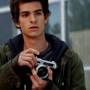 Peter Parker (aka Spider Man) holding Yashica Electro G35 Camera. Copyright Columbia Pictures and Marvel Entertainment.