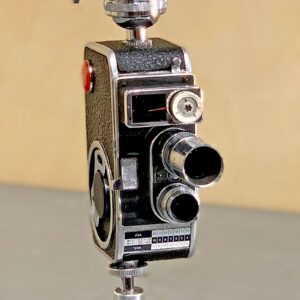 Close-up view of Rosie's Workshop original vintage camera accent light - Steven Spielberg's First Movie Camera – Bolex B8SL. All parts are UL component listed (c UR us) for United States and Canada.