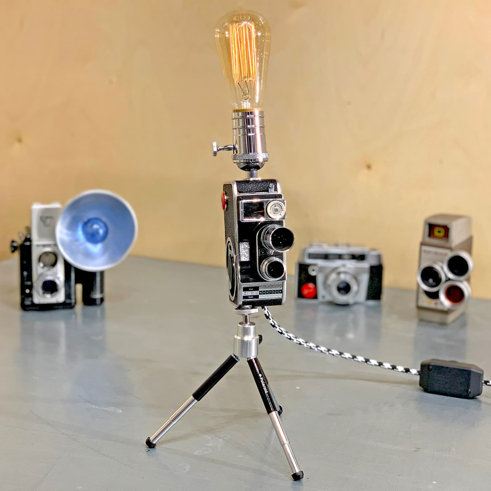 Front view of Rosie's Workshop original vintage camera accent light - Steven Spielberg's First Movie Camera – Bolex B8SL. All parts are UL component listed (c UR us) for United States and Canada.