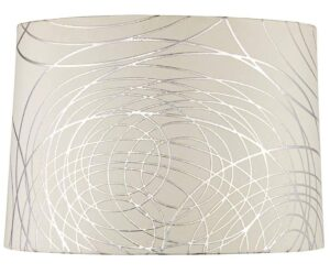 "Lamps Plus Springcrest 15""x 16""x 11"" white and silver circles lamp shade."