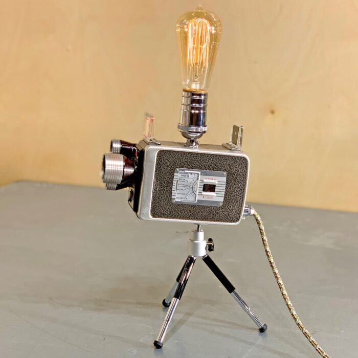 Side view of Rosie's Workshop original vintage camera accent light - Walt Disney Movie Camera – Kodak 8mm Turret f/1.9. All parts are UL component listed (c UR us) for United States and Canada.