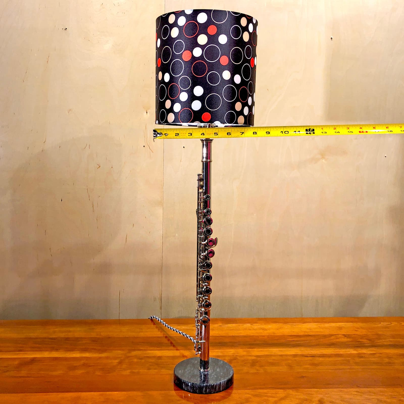 Shade measurements of Rosie's Workshop original flute table light with red and black lamp shade. All parts are UL component listed (c UR us) for United States and Canada.