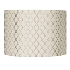 "Lamps Plus Springcrest embroidered 16""x 16""x 11"" off white and tan lamp shade."
