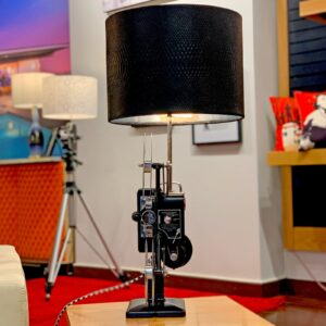 Straight on view of Rosie's Workshop original Kodascope side table light with black Lamp Shade. All parts are UL component listed (c UR us) for United States and Canada.