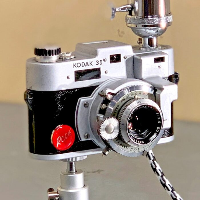 Close-up view of Rosie's Workshop original vintage camera accent light - Marilyn Monroe Camera Kodak Range Finder 35mm. All parts are UL component listed (c UR us) for United States and Canada.