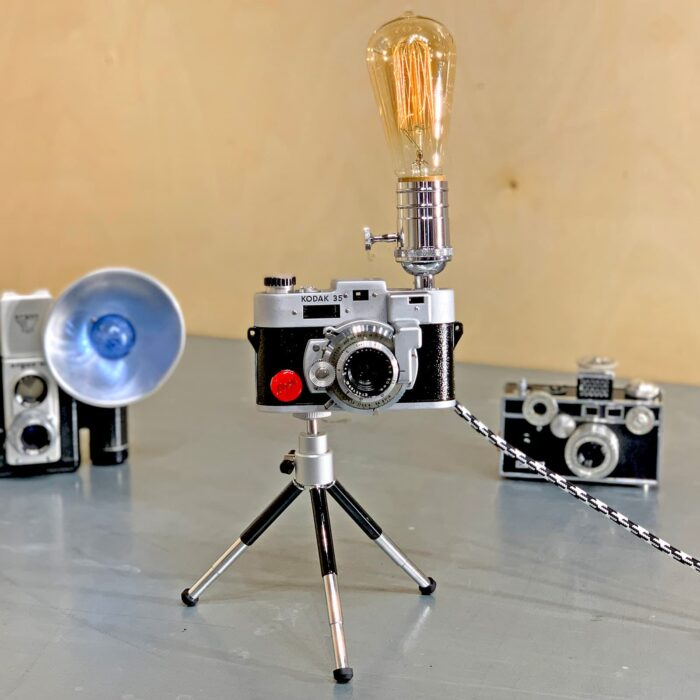 Front view of Rosie's Workshop original vintage camera accent light - Marilyn Monroe Camera Kodak Range Finder 35mm. All parts are UL component listed (c UR us) for United States and Canada.
