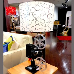 Front view of Rosie's Workshop original Kodascope side table light with white/silver dot Lamp Shade. All parts are UL component listed (c UR us) for United States and Canada.