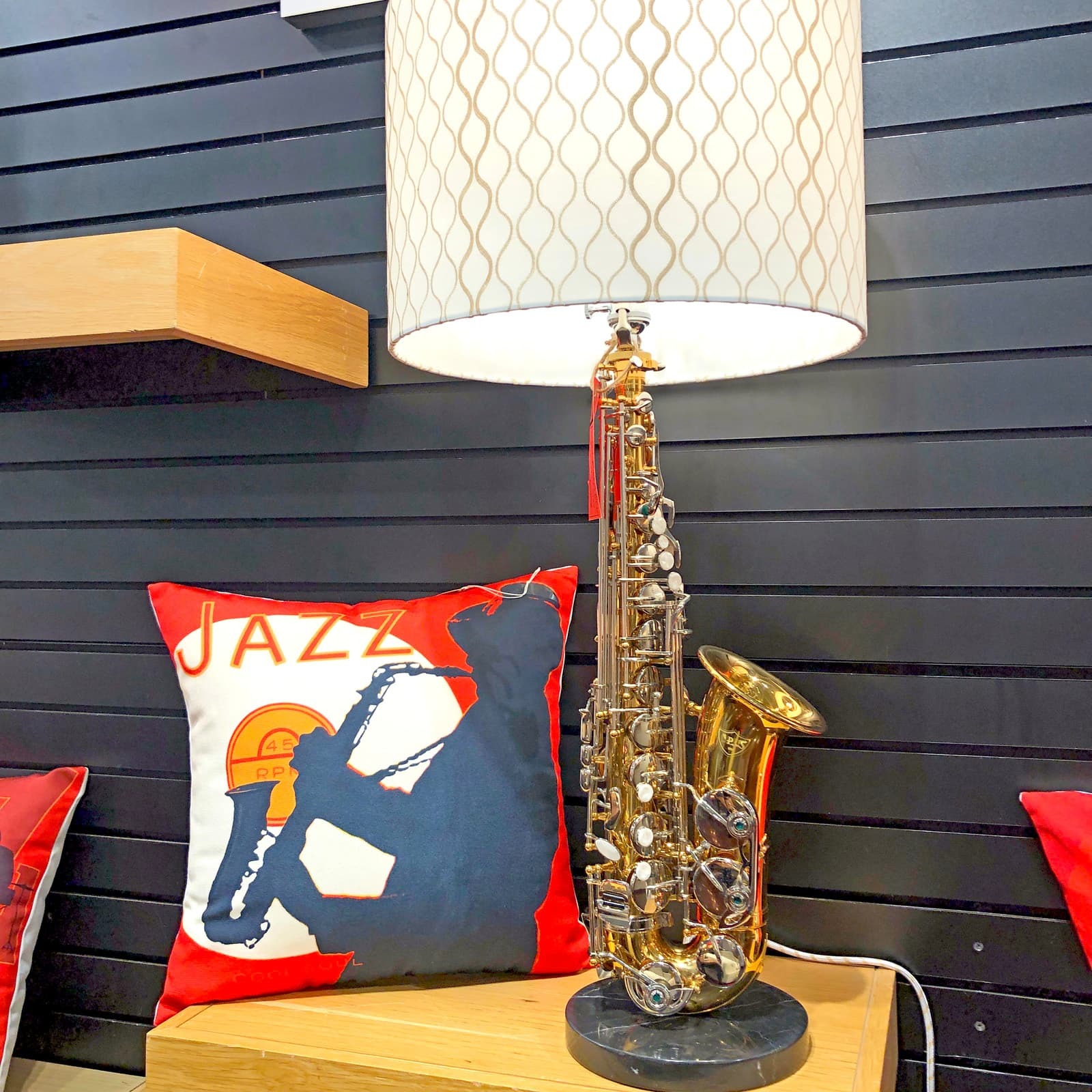 Rosie's Workshop original saxaphone side table light. All parts are UL component listed (c UR us) for United States and Canada.