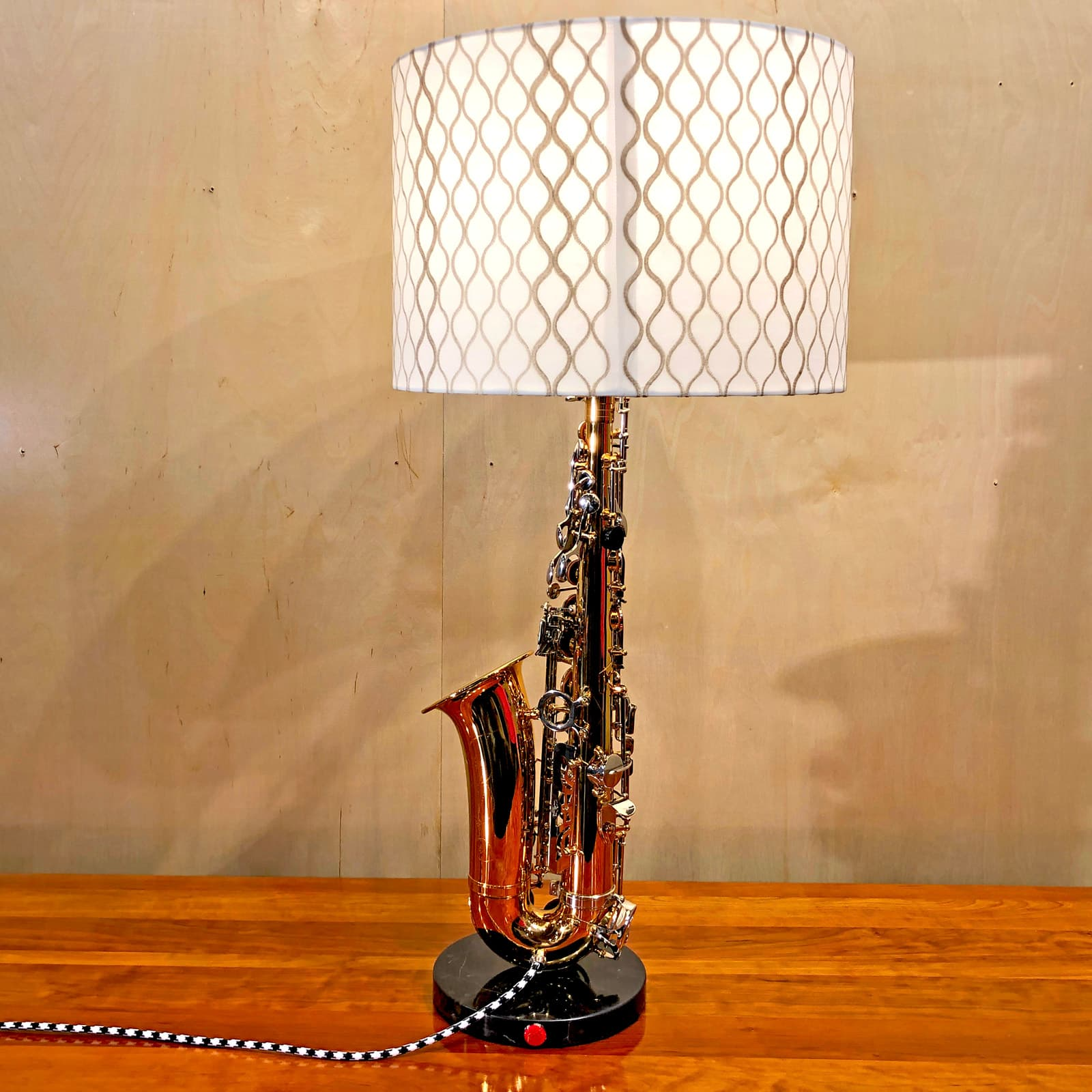 Back view of Rosie's Workshop original saxaphone side table light. All parts are UL component listed (c UR us) for United States and Canada.