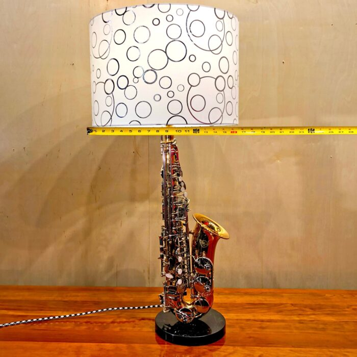 Lampshade measurements of Rosie's Workshop original saxaphone side table light. All parts are UL component listed (c UR us) for United States and Canada.