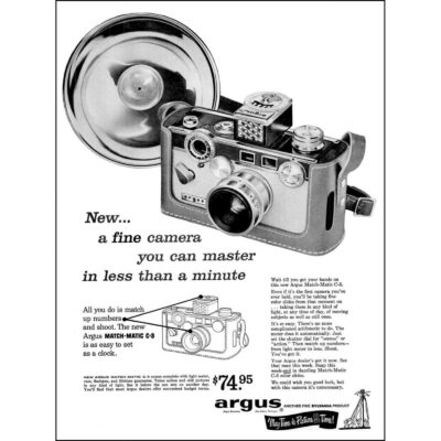 Argus Matchmatic 35MM ad from LIFE magazine May, 5 1958.
