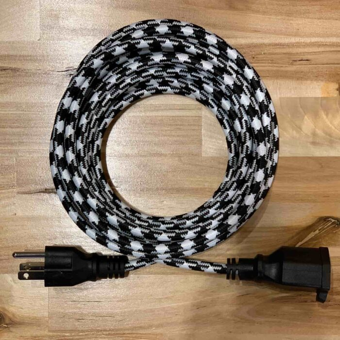 Rosie's Workshop original Black and White Hounds Tooth retro inspired fabric extension cord. Heavy-duty, grounded, 3-prong plug, 15-foot length. UL listed (c UR us) for United States and Canada.