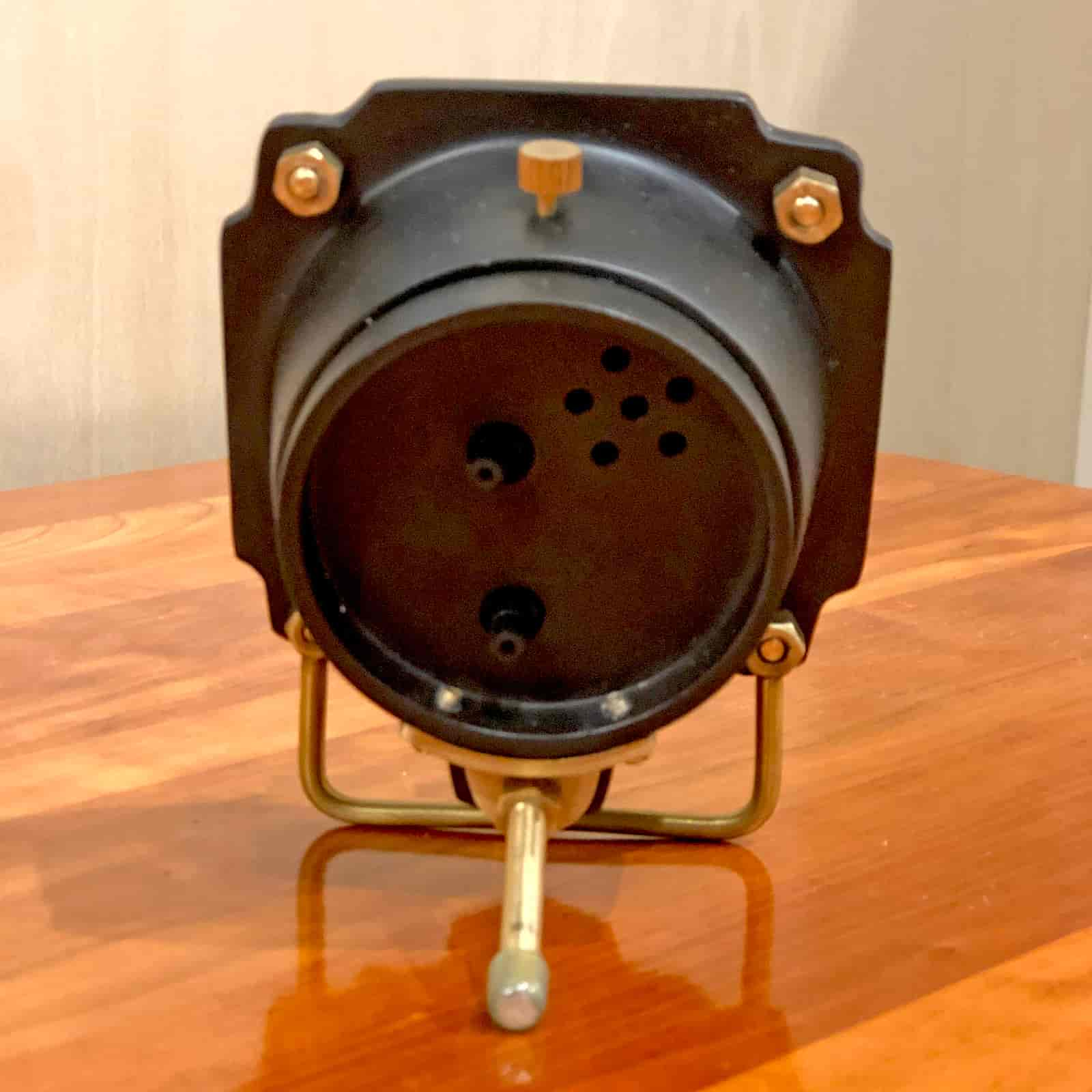 Back view of Rosie's Workshop Altimeter Alarm Clock in black finish. A wonderful retro alarm clock design based on altimeters from WWII fighter planes.