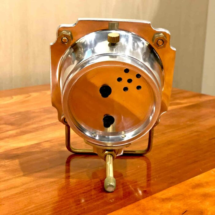 Back view of Rosie's Workshop Altimeter Alarm Clock in chrome finish. A wonderful retro alarm clock design based on altimeters from WWII fighter planes.