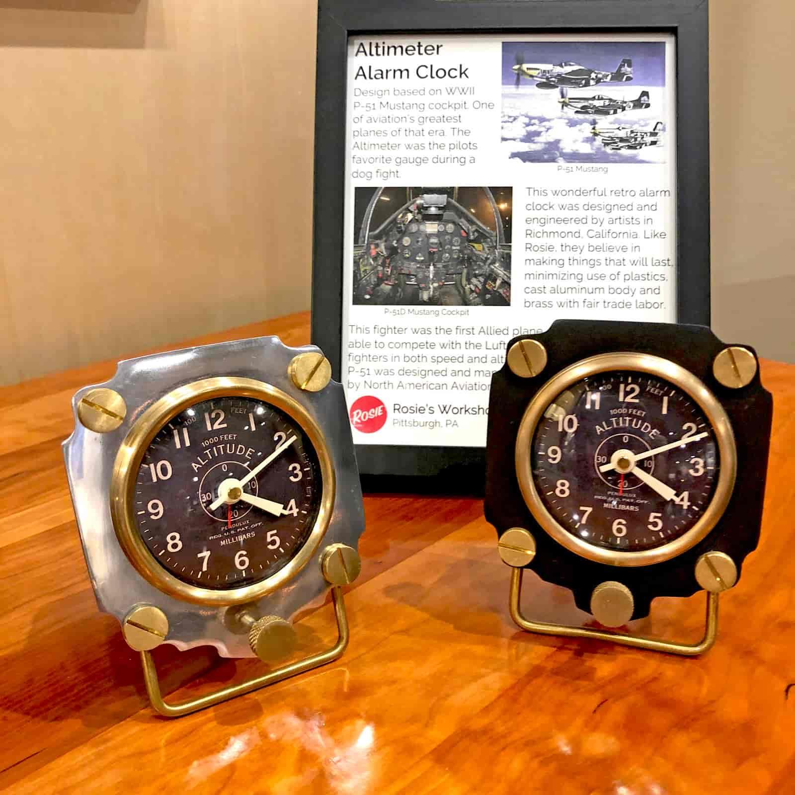 Rosie's Workshop Altimeter Alarm Clocks. A wonderful retro alarm clock design based on altimeters from WWII fighter planes.