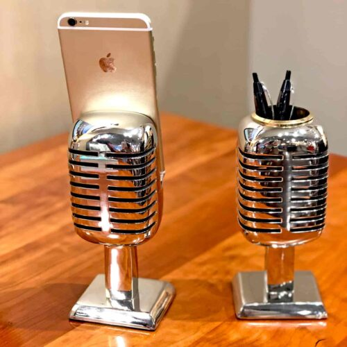Back View of Rosie's Workshop Microphone Desk Decor. Chrome pencil holder and phone stand are based on the Shure Brothers 55D microphone made famous by a young Elvis Presley while on tour in 1955 – 1957.