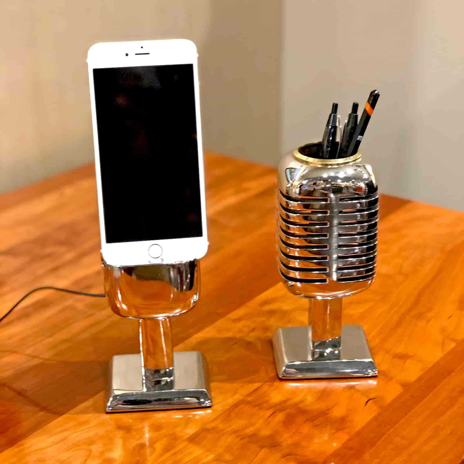 Rosie's Workshop Microphone Desk Decor. Chrome pencil holder and phone stand are based on the Shure Brothers 55D microphone made famous by a young Elvis Presley while on tour in 1955 – 1957.