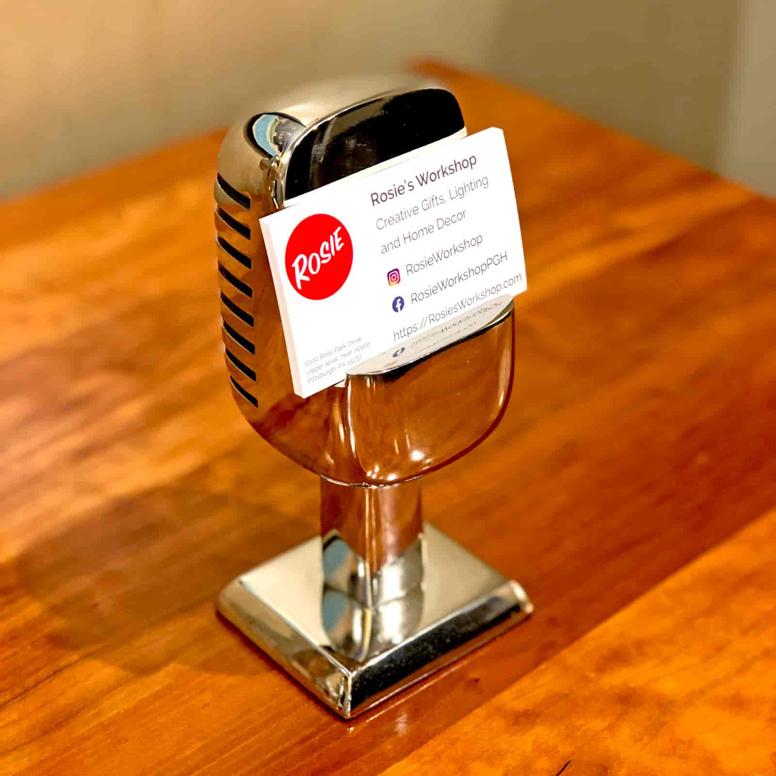 Rosie's Workshop Microphone chrome phone stand can also be used to hold business cards. Based on the Shure Brothers 55D microphone made famous by a young Elvis Presley while on tour in 1955 – 1957.
