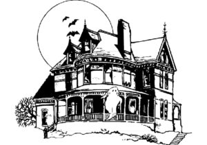 Haunted House image from Pinterest for blog article - When Did Haunted Houses Begin?