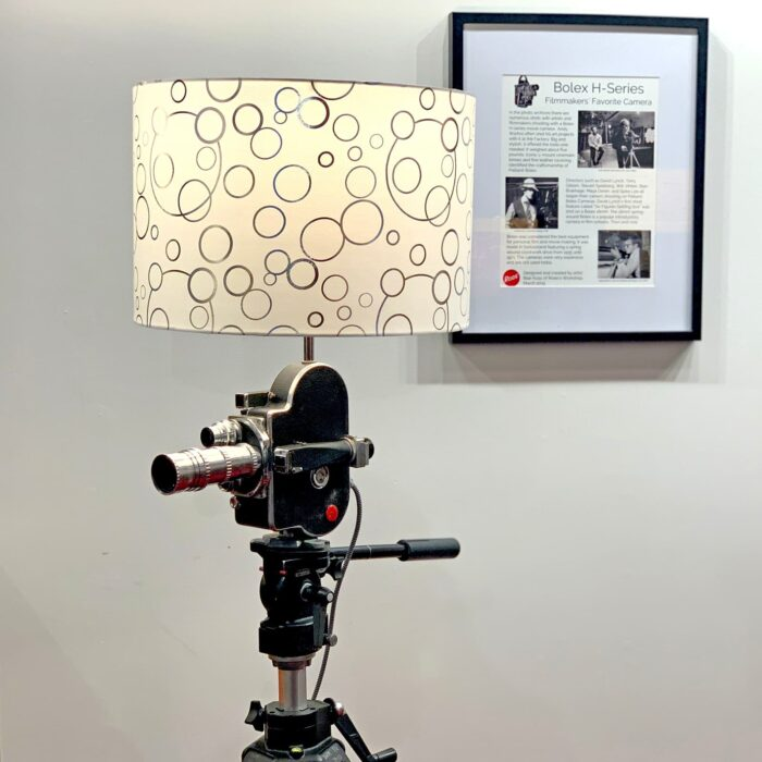 Another side view of Rosie's Workshop original Bolex H16 Floor Light. All parts are UL component listed (c UR us) for United States and Canada.