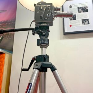 Tripod view of Rosie's Workshop original Bolex H16 Floor Light. All parts are UL component listed (c UR us) for United States and Canada.