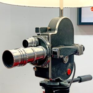 Up close view of Rosie's Workshop original Bolex H16 Floor Light. All parts are UL component listed (c UR us) for United States and Canada.