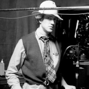 Picture of an early David Lynch getting ready to film.