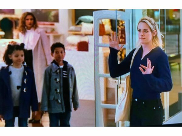 Rosie's Workshop and very open sign was featured during the shoplifting scene in Happiest Season starring Kristen Stewart. Copyright Hulu and Sony/TriStar pictures.