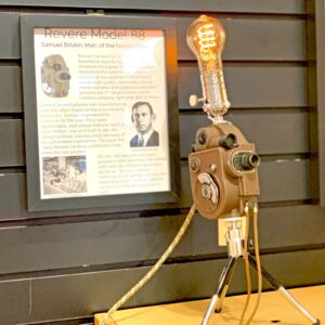 View of Rosie's Workshop original Revere Model 88 Camera Light with story card– Samuel Briskin: Man of the factory floor. All parts are UL component listed (c UR us) for United States and Canada.
