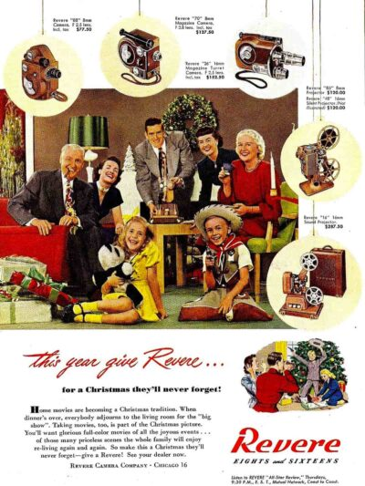 Holiday ad for the Revere Camera Co. of Chicago founded in 1939 by Samuel Briskin.