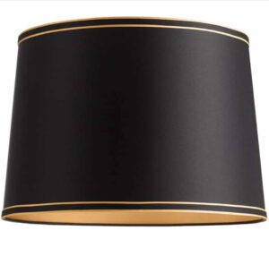"Lamps Plus Springcrest black with gold lining 15""x 16""x 11"" lamp shade."