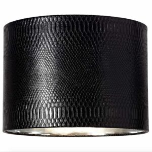 """Lamps Plus Springcrest black reptile print with silver lining 15""""x 15""""x 11"""" lamp shade."""