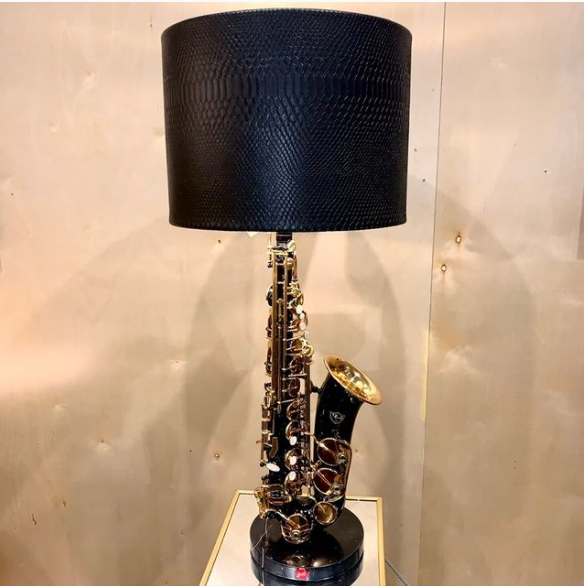 Rosie's Workshop original black laquer saxaphone table light. All parts are UL component listed (c UR us) for United States and Canada.