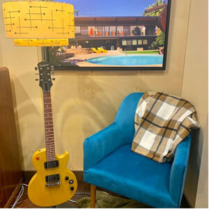 Rosie's Workshop original Les Paul guitar floor lamp with retro MCM fiberglass lampshade. All parts are UL component listed (c UR us) for United States and Canada.