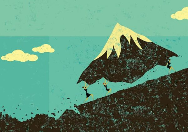 Image for blog - Did you know Rosie's Moved? Shows women moving a mountain. Purchased from iStock.com.
