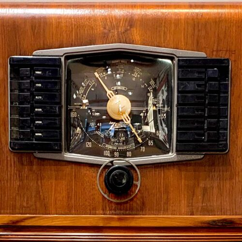 Up close view of dial of Rosie's Workshop Zenith 1940s vintage floor radio with modern technology. We outfit the radio with a high-end Bluetooth 5 audio system.