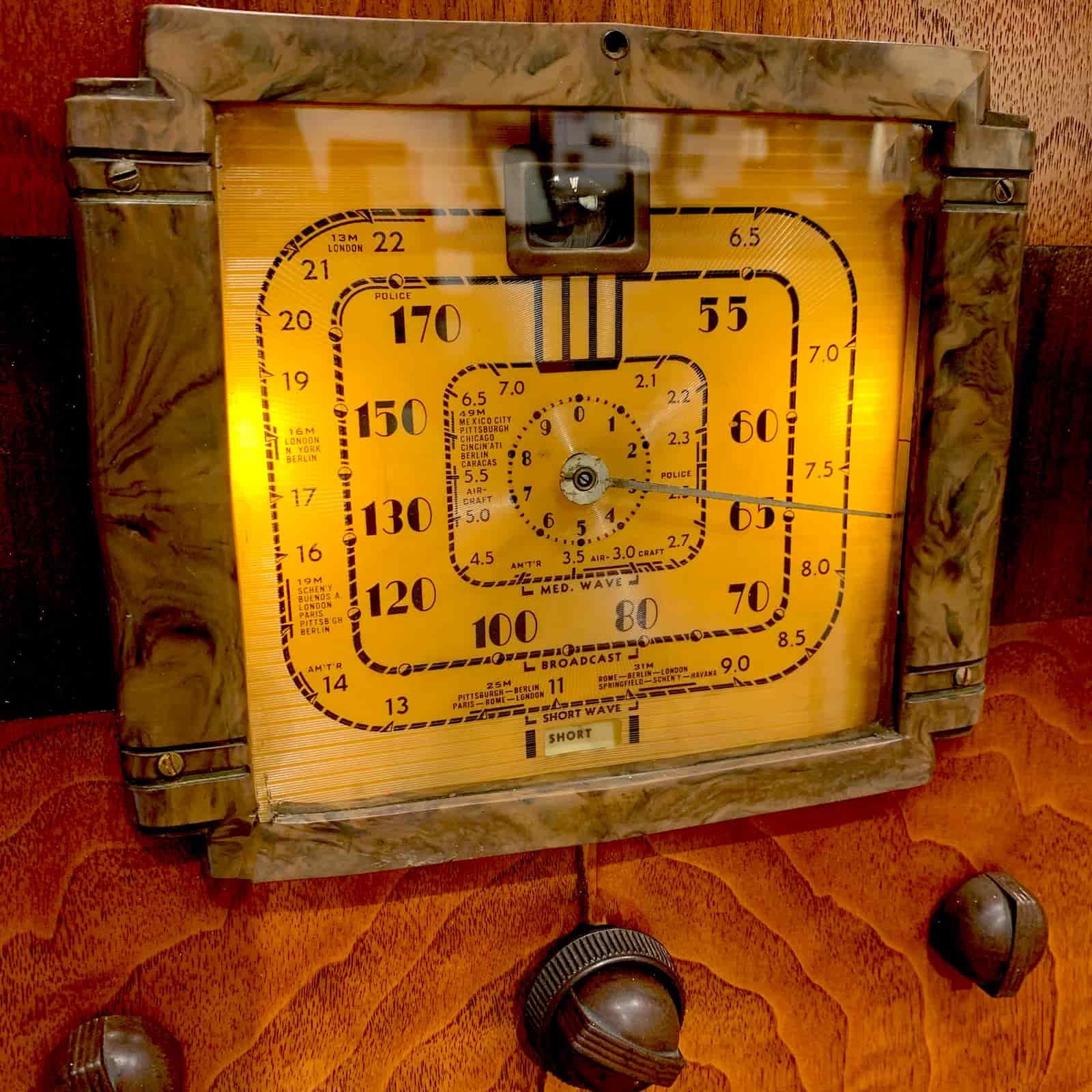 Up close view of dial of Rosie's Workshop Fada vintage floor radio with modern technology. We fitted the radio with a high-end Bluetooth 5 audio system.
