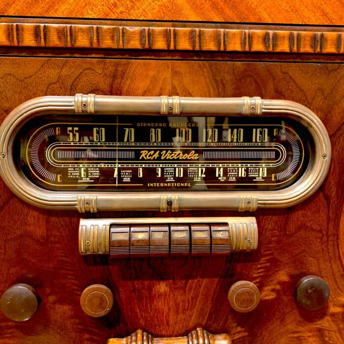 Up close view of dial of Rosie's Workshop RCA vintage floor radio with modern technology. We outfit the radio with a high-end Bluetooth 5 audio system.
